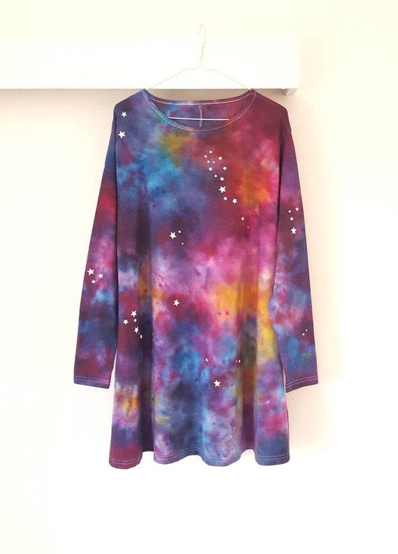 Swing Dress Plus Size Tie Dye Tunic Galaxy Mini Dress 90s Grunge Clothing  Festival Outfit Hippie Halloween S-3XL