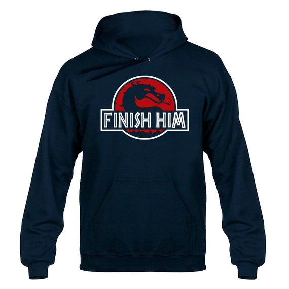 Finish Him Jurassic Park Parody Hoody Hoodie Hooded Sweater