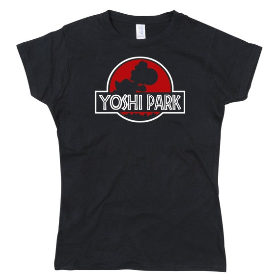 Ladies Yoshi Park Jurassic Park Parody Tshirt (Red Version)