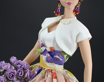 vintage dress with bolero for Silkstone Barbie by SL Doll Fashion