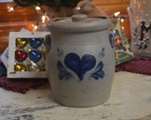 Rowe Pottery Salt Glaze Heart Decorated Canister Rowe Pottery Crock W-Lid Excellent Cond Cambridge WI Pottery Vintage Heart Christmas Decor