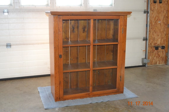 image 0 - Primitive Antique Pine Cupboard Glass Front Early American Etsy