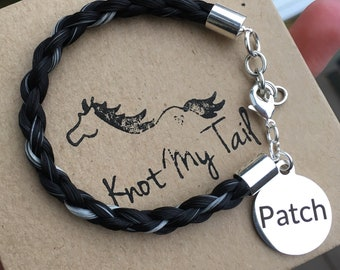 b8b7ced3b8f Personalized Horsehair Bracelet - Horse Tail Bracelet, Equestrian Keepsake,  Horse Hair Jewelry, Engraved Bracelet, Round Tag