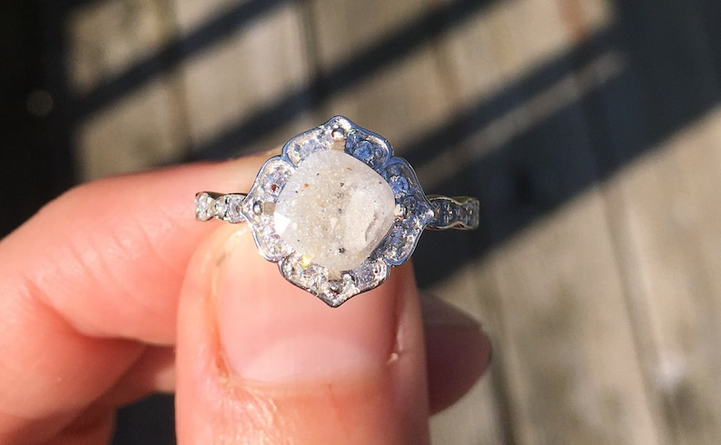 Pet Ash Ring Pet Ashes Sterling Crystal Ring Pet Cremation Jewelry