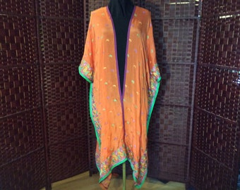 Embroidered Silk Scarf Spring Kimono