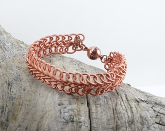 Copper Wire Wrapped bracelet with calcite focal