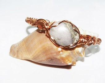 Copper Wire Wrapped bracelet with marble focal