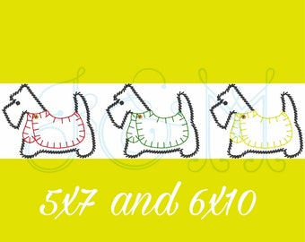 4d2af424f9 Scottie Dog in a Sweater Trio Line of Three Outline Sketch and Blanket  Stitch Vintage Stitch Vintage Style Machine Embroidery Design