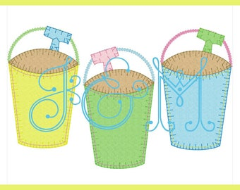 Sand Pail Staggered Trio Line Vintage Style Blanket Stitch Applique  Embroidery Design 34f2c2796a01