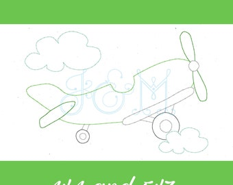 Simple Vintage Airplane Bean Stitch Sketch Outline Vintage Style Machine Embroidery Design