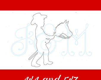 Little Cowboy Silhouette Vintage Stitch Sketch Outline Machine Embroidery Design 4x4 5x7