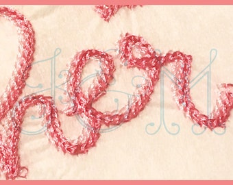 Two Fonts in One! The Heather Font Single and Double Chain Stitch Handwritten Thick Bean Stitch Vintage Style Machine Embroidery Design
