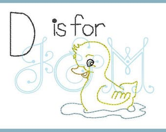 D is for duckling vintage stitch sketch embroidery design
