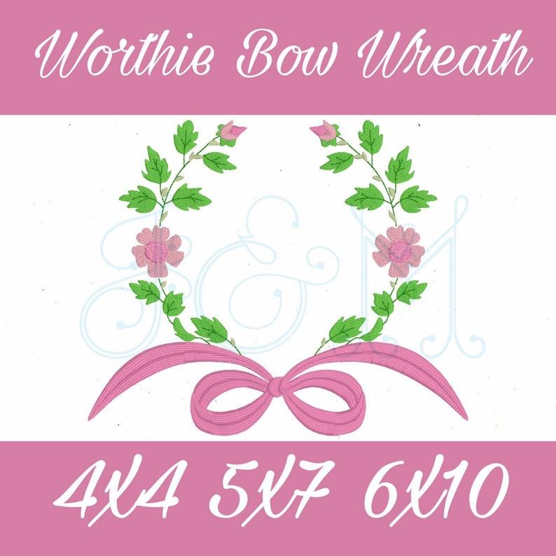 Worthie Heirloom Ribbon Bow Floral Wreath Swash Monogram ...
