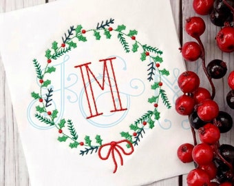 Christmas Holly Leaf and Berry with Ribbon Bow Quick Stitch Monogram Frame Wreath Vintage Style Machine Embroidery Design