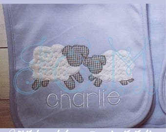 Two Lambs Vintage Style Blsnket Stitch Free Motion Applique Machine Embroidery Design