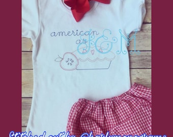 American as Apple Pie Vintage Stitch Embroidery Design