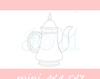 Silver Teapot Bean Stitch Sketch Outline Vintage Style Machine Embroidery Design