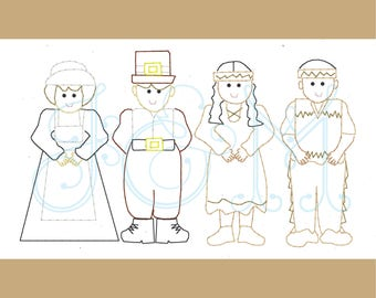 Thanksgiving Indian and Pilgrim Kids Vintage Stitch Sketch Outline Machine Embroidery Design
