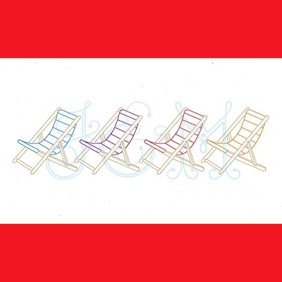Strand Stuhl Linie Grenze Bean Stich Skizze Umriss Vintage Stil Maschine Stickerei Design