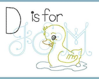 4x4 D is for duckling vintage stitch sketch embroidery design