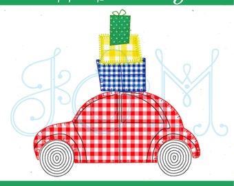 Christmas Contour Wheel Car with Presents Vintage Style Blsnket Stitch Free Motion Applique Machine Embroidery Design