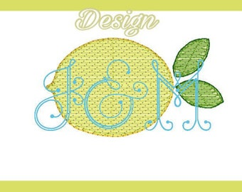 VIntage Style Shadow Work Machine Embroidery Lemon Design