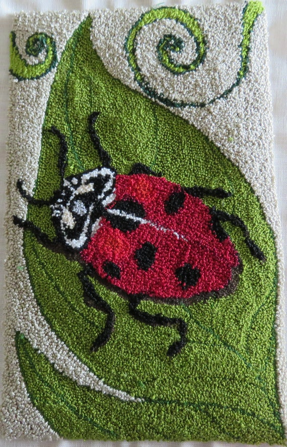 Punch Needle Embroidery Lady Bug Quilted Frog Pattern