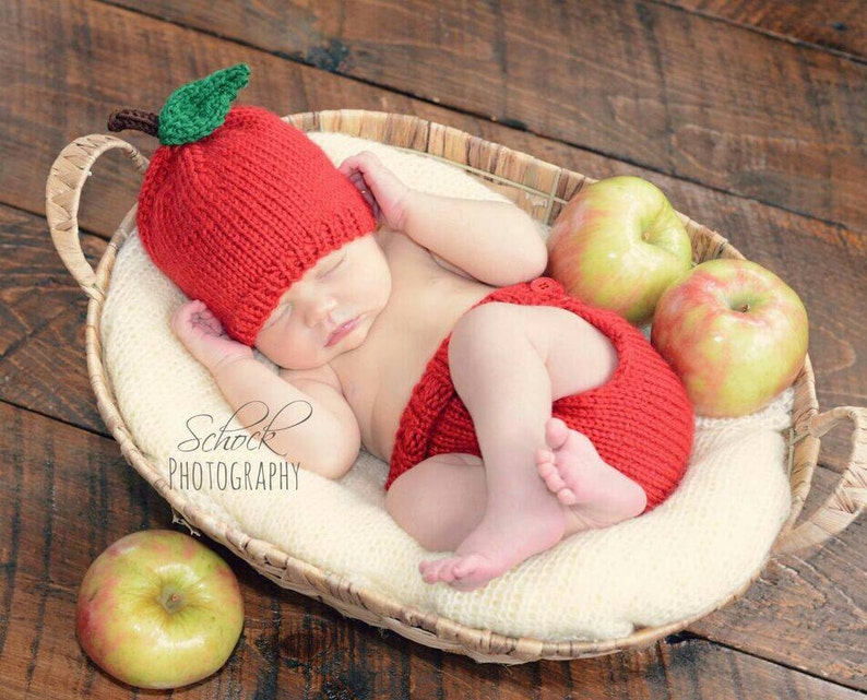 125026200 Apple Baby Hat and Diaper Cover Set Apple Newborn Outfit