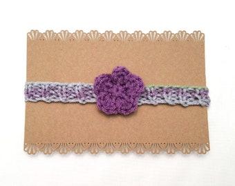 Purple Flower Newborn Headband   Purple Baby Headband / Flower Newborn Headband / Purple Baby Shower Gift / Flower Baby Gift / Baby Girl Bow