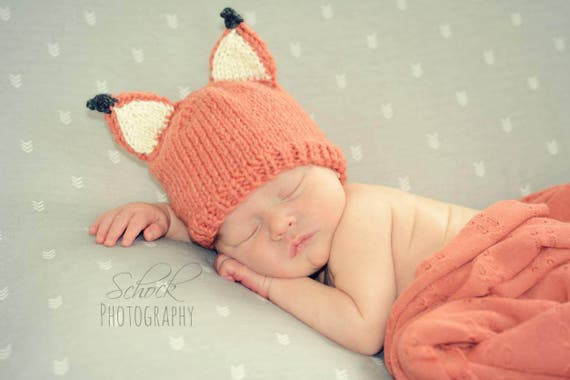 Fox Baby Hat Fox Newborn Hat Woodland Baby Hat Baby  8494dbed0b3