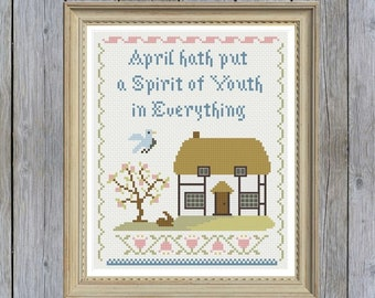 Shakespeare's Spring Traditional Sampler Cross-Stitch Pattern -- PDF Instant Download
