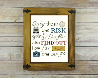 a4e4aa64d887 Only Those Who Risk -- T.S. Eliot Quote Cross-Stitch Pattern -- PDF Instant  Download
