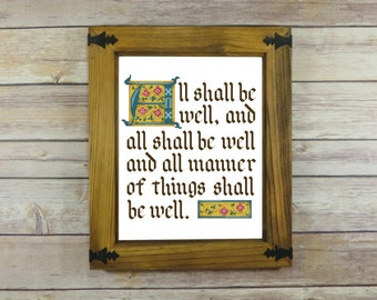All Shall be Well -- Julian of Norwich Inspirational Quote Cross-Stitch Pattern -- PDF Instant Download