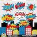 Monique Chavez reviewed 50% OFF SALE Superheroes Pop Art Text and Bubbles Clipart / Super hero Text and bubbles digital clip art / Superhero photobooth props