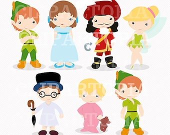 Neverland Digital Clipart / Cute Peter Digital Clipart For Personal and Commercial Use / INSTANT DOWNLOAD