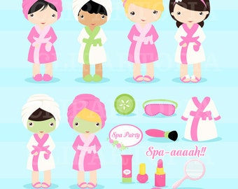 Spa Party Digital Clipart / Girls Spa Party Cute Clip art  For personal and comercial Use / Instant download