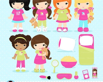 SLUMBER PARTY digital clipart, Sleepover Clipart, Pajamas Party Clip art, Personal and Commercial Use, Instant download