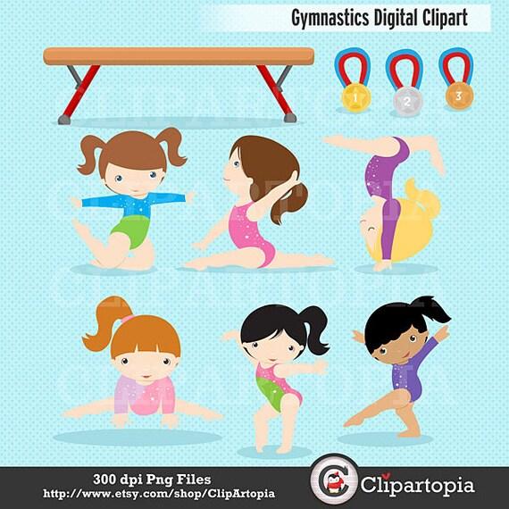 Clipart De Gymnastique Filles Gymnastique Mignon Digital Etsy