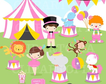 Pink Circus Digital clipart / Girls Circus clip art for Personal and Comercial Use/ Instant Download