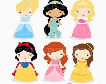 Princesas Digital Clipart / Princesas de cuentosde hadas digital Clipart para uso Personal y Comercial