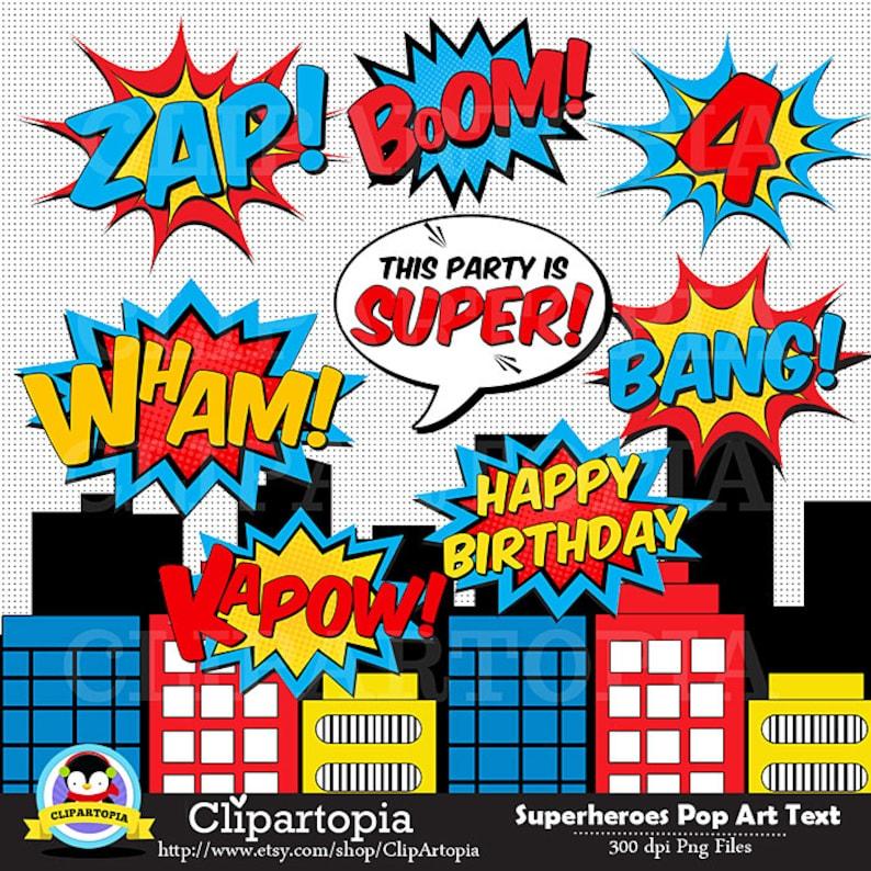 Superheroes Pop Art Text and Bubbles Clipart / Super hero Text image 0