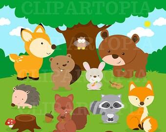Forest Friends Animal Clip Art / Woodland  Animal Clipart / Forest Animal ClipArt / Cute Animal Clipart / Owl Clipart