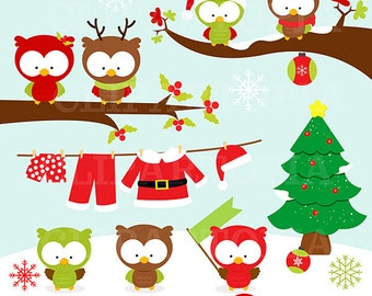 Christmas owls digital clipart / Cute Christmas Owls Clip art  For Personal and commercial use