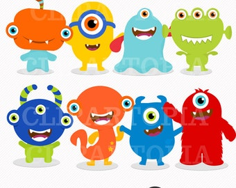 Cute little Monster 2 Digital Clipart / Monsters Party  for Personal and Commercial Use/ INSTANT DOWNLOAD