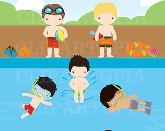 Pool Party Digital Clipart / Summer Boys digital Clipart For Personal and Commercial Use