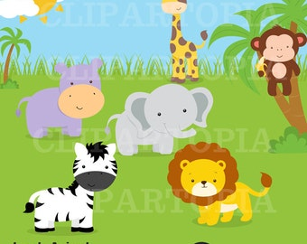 Jungle animals Digital Clipart / Safari Animals Digital Clip art for personal and commercial use /INSTANT DOWNLOAD