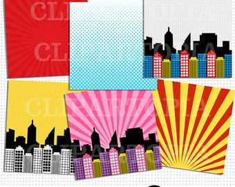 Superhero Comic Book Paper Pack / Superheroes Paper Pack For Personal and Commercial Use / Instant download