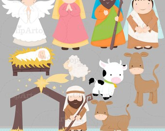Christmas Nativity Cute Christmas Digital Clipart for Invitations, Card Design, Web Design and Scrapbooking.
