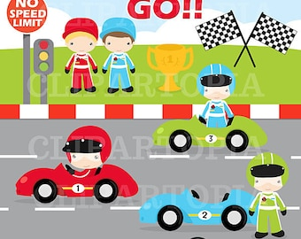 Race Cars Digital Clipart / Racing Cars For Personal and Commercial use/INSTANT DOWNLOAD